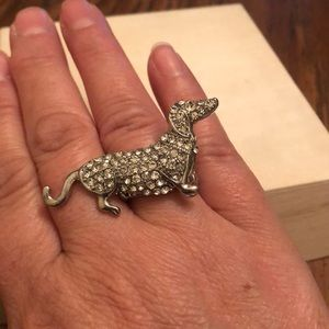 Jewelry - Dachshund Stretchy Rhinestone Adjustable Ring-New!